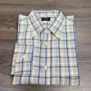 Paul & Shark Tan, Blue & Cream Plaid Shirt XXL